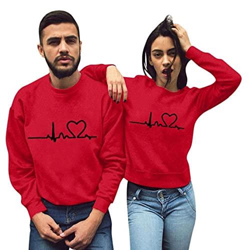 Yililay Parejas Sudadera Pullover de Manga Larga Camiseta de San Valentín Rojo de impresión S