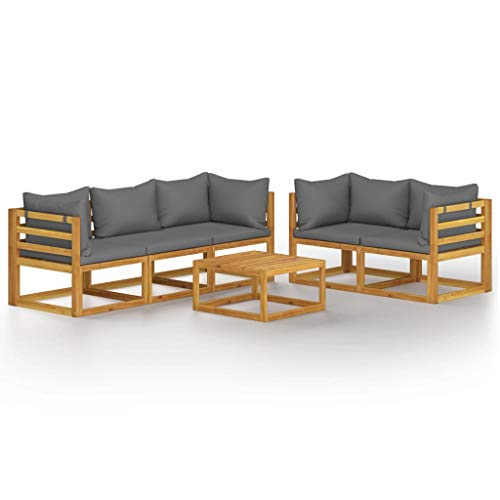 vidaXL Akazienholz Massiv Gartenmöbel Set 6-TLG. mit Auflagen Sitzgruppe Lounge Sofa Garnitur Sitzgarnitur Gartenset Ecksofa Gartensofa