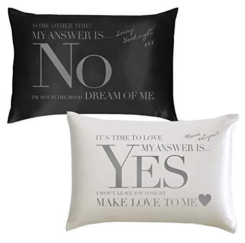 SAGARAND 天然シルク100% 世界最高級 Yes No枕 43cm×63cm 新婚 さんへの プレゼント に【両面印刷 1個】ラッピング済み
