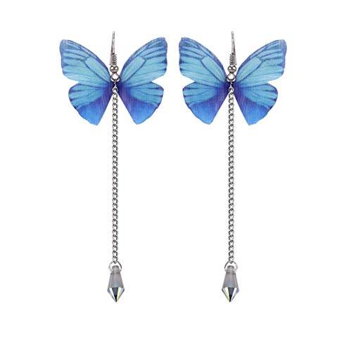 #N/A Colorido Tulle Mariposa Imitación Perla Colgante Pendientes De Cristal Pendientes Elegantes Pendientes Con Estilo Stud Mujeres Joyería Ropa Accesorios,Azul