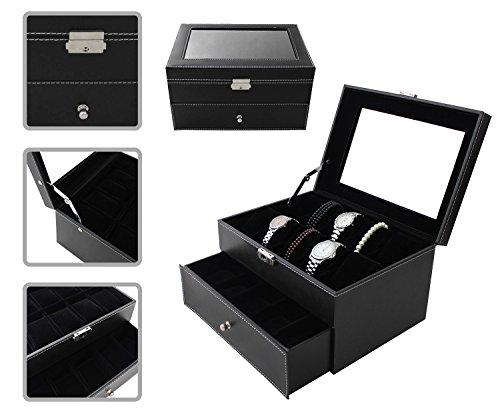 Todeco - Porta Prologi, Porta Bracciali - Dimensione: 28,5 x 20,5 x 15 cm - Materiale della scatola: MDF - 20 orologi con cassetto ed espositore, Nero