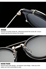 Clip on Sunglasses Steampunk Metal Retro Circle Double Lens Vintage Round Mirror Lens for Women Men(Black Lens+Silver Frame) #3