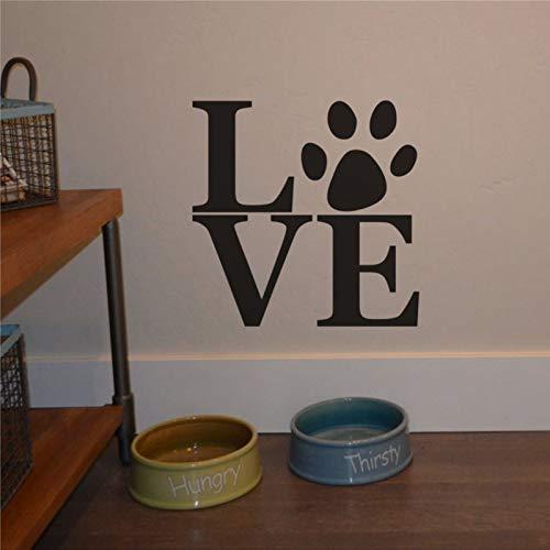 Vinilo adhesivo para pared, pegatinas de pared y murales con texto en inglés «Love Dog Paw Letting My Lm», para decoración de dormitorio, sala de estar, guardería en interiores.