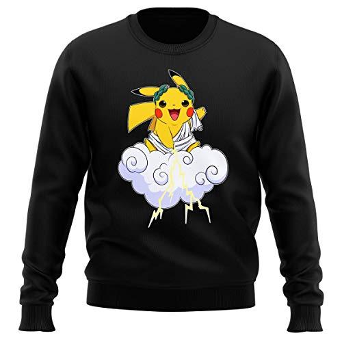 Okiwoki Pull Noir Parodie Pokémon - Pikachu Sauce Zeus et Le Dieu du Tonnerre - Le Dieu du Tonerre : (Sweatshirt de qualité Premium de Taille L - impr