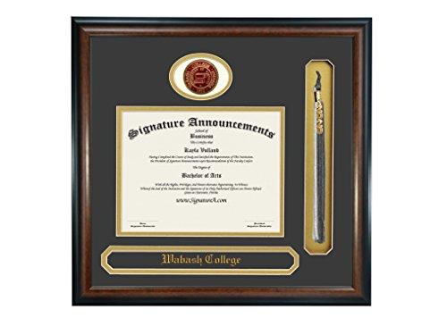 "Signature Announcements Wabash College Undergraduate Sculpted Foil Seal, Name & Tassel Graduation Diploma Frame, 23"" x 24"", Matte Mahogany"