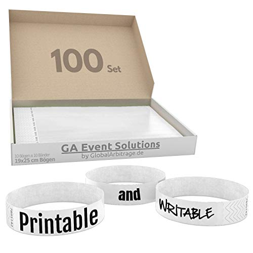 100 pulseras de entrada de Tyvek para diseñar e imprimir en color blanco de GA Event Solutions – Pulseras de entrada para fiestas, pulseras de festivales para tu evento