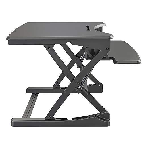 SpassWay HVS-B02 - Escritorio de pie con muelle de gas, altura regulable, ergonómico, para PC, ordenador, pantalla y portátil