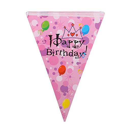 Ningz0l Verjaardag Decoratie, Crown dubbelzijdige bedrukking Happy Birthday Triangle Flag Banner verjaardagsfeestje decoratie accessoires achtergrond sfeer 5 stuks