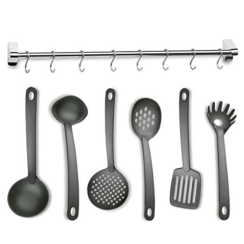 Lacor 98944 Utensilios de Cocina, 6 Espátulas Eco Set con Colgador de Barra 6 Ganchos, Nylon, INOX y Negro