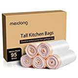 meidong Bin Bags 50L Bin Liners with Tie Handle Drawstring Bin Bags Unscented for Swing Pedal kitchen Bins (5 Rolls, 95 Counts in All)