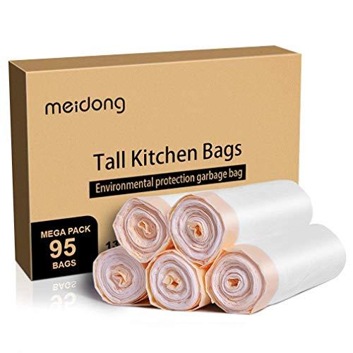 Meidong Bolsas de Basura 50L (5 Rollos, 95 Cuentas en Total)