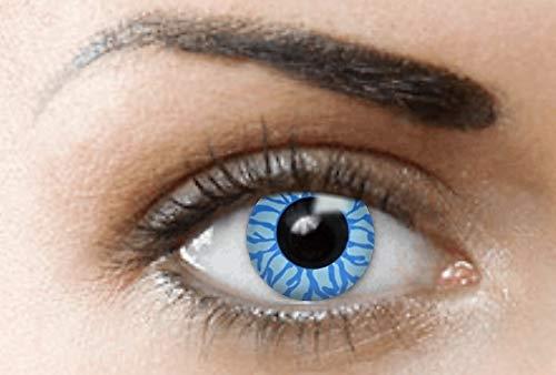 PHANTASY Eyes® Farbige Kontaktlinsen, Ohne Stärke (BLUE ANGEL/DÄMON) Blau Devil perfekt zum Halloween und Karneval, Jahres Linsen, 1 Paar crazy fun Contact linsen + Kontaktlinsenbelälter!