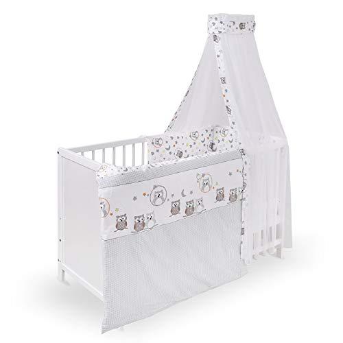 Urra Komplett-Kinderbett Luca 60x120 cm Kiefer weiß | teilmassiv | inklusive Bettset 3-teilig | Matratze | Himmelstange | Eulenpaar