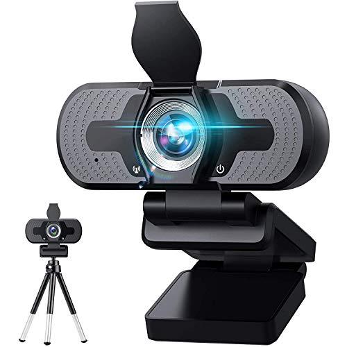 TVACHE Webcam 1080p Full HD mit Stereo-Mikrofon, 110° Sichtfeld, Plug & Play,Web-Kamera für Videochat und Aufnahme, kompatibel mit Windows, Mac und Android
