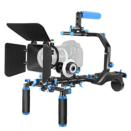 """Neewer Shoulder Rig Kit for DSLR Cameras and Camcorders, Movie Video Film Making System with Matte Box, Follow Focus, C-Shaped Bracket, 15mm Rods, Handgrip, 1/4"""" & 3/8"""" Threads (Blue + Black)"""