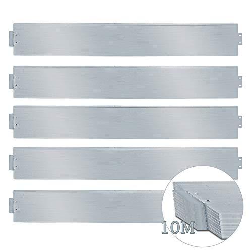 wolketon Rasenkante 10m 100x14cm Metall Beetumrandung verzinkt Mähkante Beeteinfassung - Länge 10m Höhe 14cm Palisade