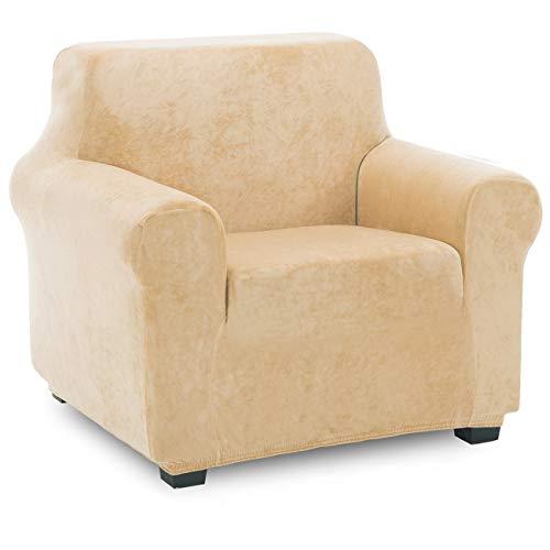 TIANSHU Funda de Sillón Terciopelo,Cubierta Suave del sofá de la Felpa del Terciopelo para,Cubiertas Elegantes de los Muebles de Lujo(1 Plazas,Amarillo ámbar)