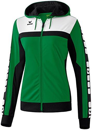 Erima Damen Classic 5-C Trainings Sportsjacke, smaragd/schwarz/weiß, 42