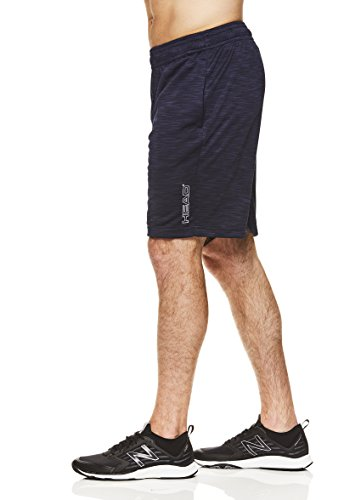 HEAD Men's Woven Workout Gym & Running Shorts w/Elastic Waistband & Drawstring - All Navy Heather Blue, Large