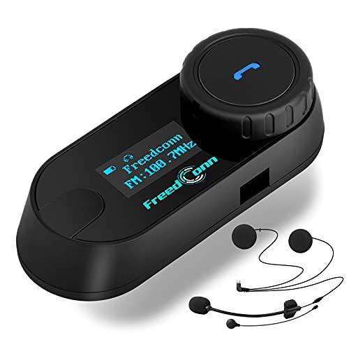 FreedConn Motorcycle Bluetooth Headset, Waterproof Intercom Helmet Communication Intercom Systems (LCD Screen/800M/FM Radio/Mobile phone/MP3/GPS Connective/Handsfree/3 Riders/TCOM-SC)