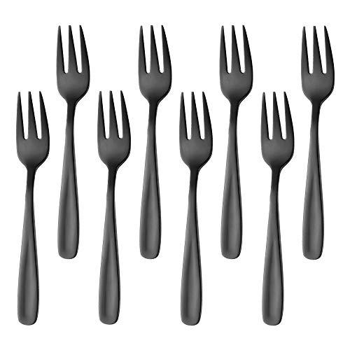 Bisda Postre de tenedor de Negros tenedores de pastel 18/10 acero inoxidable tenedores pequeños para niños de colores 8...