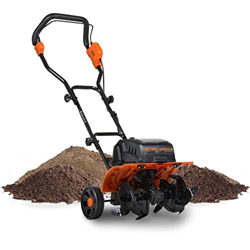"SuperHandy Tiller Cultivator Rototiller Electric Portable 40V 14"" Inch Tilling Width 4 Premium Steel Adjustable Forward Rotating Tines for Garden & Lawn, Digging, Weed Removal & Soil Cultivation"
