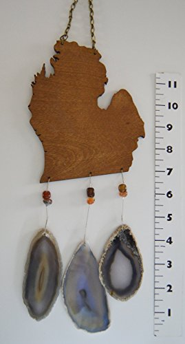 Michigan lower peninsula mitten wind chime slice Agate geode windchime wood stone sun catcher wind chime mobile window decor hanging