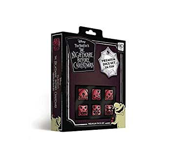 USAOPOLY Nightmare Before Christmas Premium Dice Set   Collectible d6 Dice   Red & Black Custom Dice with Collectible Tin Case   Officially Licensed Disney 6-Sided Dice  AC004-291-002000-12