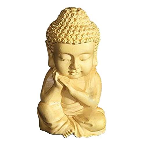 Colcolo Madera Tallada Sakyamuni Buda Pequeña Estatua Estatuilla Adorno Decoración Té