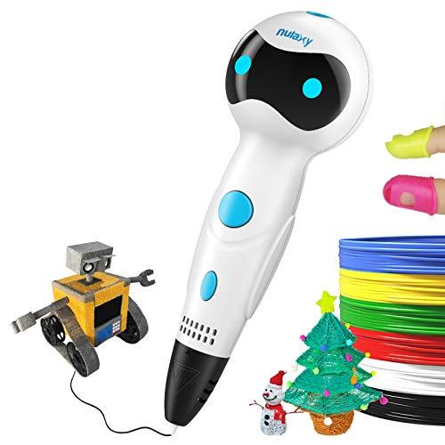 Nulaxy [2018 Nuova Penna 3D, Penna Stampante 3D Dotato di Voce inteliggente, Alimentazione filamento Automatica PLA/ABS, Penna da Stampa 3D ¨¨ Un Regalo Perfetto per Bambini, Adult(White)