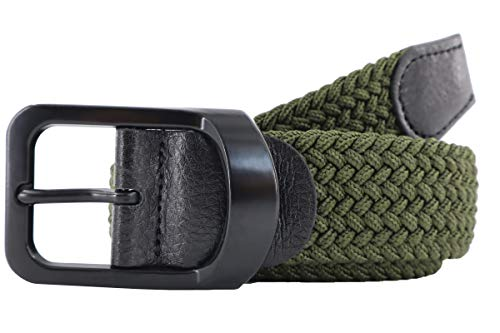 Men's Braided Stretch Belts, Elastic Canvas Woven Belts for Men Jeans Shorts Casual Golf Belt Thick 3/16'' Wide 1 3/8'' (Olive, L (for Waist Size 37'' 38'' 39'' 40'' 41''))