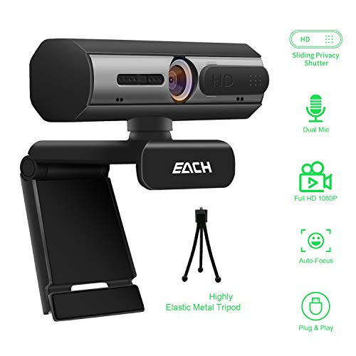 AutoFocus Full HD Webcam 1080P with Privacy Shutter Free Tripod - Pro Web Camera with Dual Digital Microphone - USB Computer Camera for PC Laptop Desktop Mac Video Calling, Conferencing Skype YouTube
