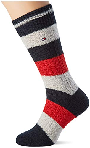 Tommy Hilfiger TH Men Sock 1p Cable Rugby Calcetines, Azul Marino/Rojo, 43/46 para Hombre