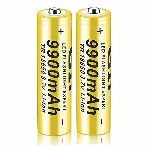 Kuyoly 2 pcs Pilas 18650 Pilas Recargable 3,7 V 9900 Mah de Iones de Litio de Alta Capacidad Baterías, 1800 Ciclos de Larga Duración con Botón Superior Pilas para Linterna,18x65mm