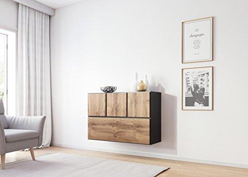 Furniture24_eu Kommode Sideboard Hängeschrank ROCO-13 (Anthrazite Matt/Wotan Eiche)