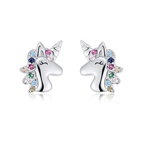 Qings Orecchini Unicorno in Argento Sterling 925 per Bambina,Orecchini Unicorno a Clip,Orecchino Unicorno Colorato Color