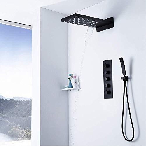 CLJ-LJ Termostato oculto de cobre negro 3 funciones Fly Rain In-Wall baño ducha sistema de ducha agua caliente y fría cascada tapa cuadrada spray no se oxida