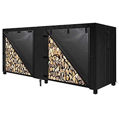 8-Ft. Firewood Rack with Cover, Steel Fire Wood Log Holder Outdoor