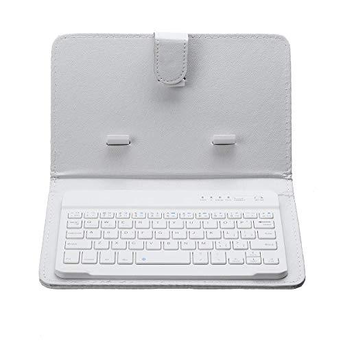 Y-hm Sensación cómoda Tenedor portátil de la Caja del Teclado de la Radio Bluetooth de la Radio de la PU para la Tableta del teléfono Inteligente Diseño portátil (Color : White)