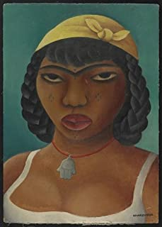 Photo: Black Woman with yellow scarf on her head, tattoos on her face, Miguel Covarrubias . Size: 8x