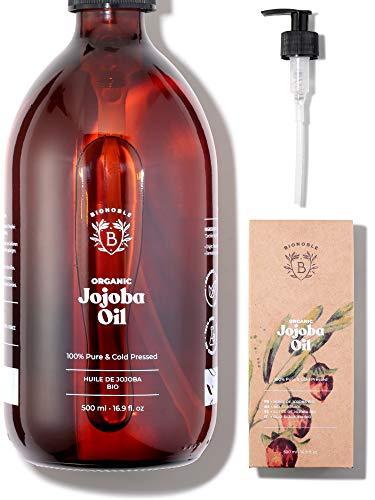 JOJOBAÖL BIO | 100% Rein, Natürlich & Kaltgepresst | Gesicht, Körper, Haare, Bart, Nägel | Vegan & Cruelty Free | Jojoba Oil | Glasflasche + Pumpe (500ml)
