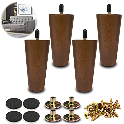 LIANGYUN 5 inch Wood Furniture Sofa Legs Set of 4 for Mid-Century Replacement Legs for Sofá, Couch, Cabinet, Chair, TV Stand, Coffee Table, Bed, DIY Project(Brown Color)