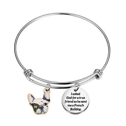 AKTAP FrenchBulldog Bracelet Pet Charm Jewelry I asked God for a True friend so he sent me a french bulldog for Dog Owner (French Bulldog Bracelet)