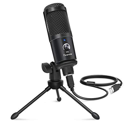 Panamalar USB Kondensatormikrofon, USB PC Mikrofon 192Khz/24 bit mit Tischstativ Aufnahme Studio Mikrofon Plug & Play Mac Laptop PC, passt für Aufnahm/Podcast/Rundfunk/Gaming PS4/Livestream/Vlog