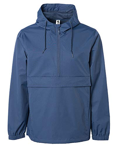 Global Blank Mens Hooded Windbreaker Raincoat Waterproof Anorak Navy Blue Medium