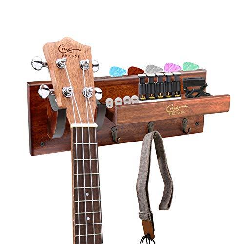 Hricane Gitarrenständer Halter Gitarrenbügel Wandhalterung, akustische Ukulele Hartholzhaken für Bass Electric Acoustic Violine Mandoline Banjo, Gitarrenhalter mit Pick Slot und 3 Haken