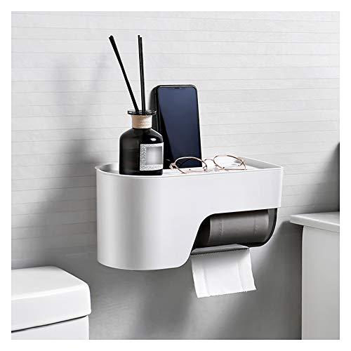 WXXSL ABS Porta Carta Igienica, Impermeabile Montaggio a Parete Porta Rotoli Carta igienica Nessuna Perforazione Deposito del Tessuto del Bagno Bianca 29×14×14.2cm