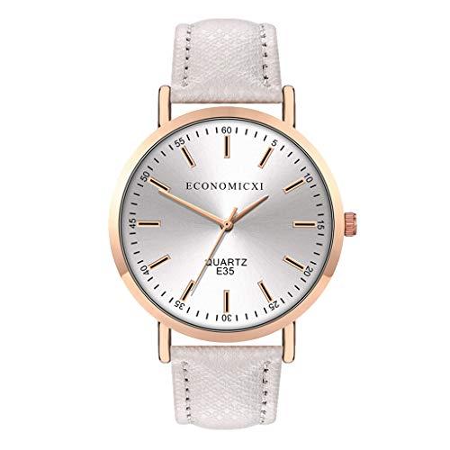 Evansamp Damen-Armbanduhr, stilvoll, schlicht, Lederband, einfaches rundes Zifferblatt, Quarzuhr