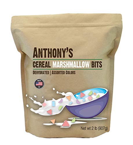 Anthony's Cereal Marshmallow Bits, 2 lb, Dehydrated, Assorted Colors & Shapes, Made in USA by Anthony's