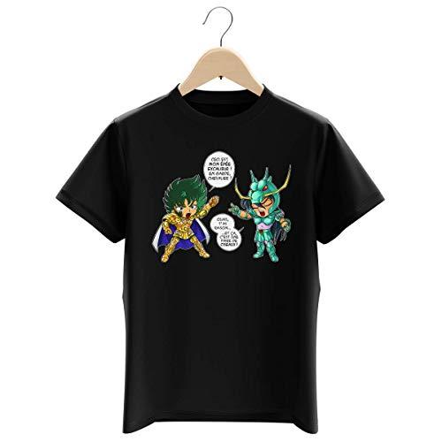 T-shirt Enfant Garçon Noir parodie Saint Seiya - Shura chevalier d'or du Capricorne et Shiryu du Dragon - J't'ai cassé là ! (T-shirt enfant de qualité premium de taille 5-6 ans - imprimé en France)